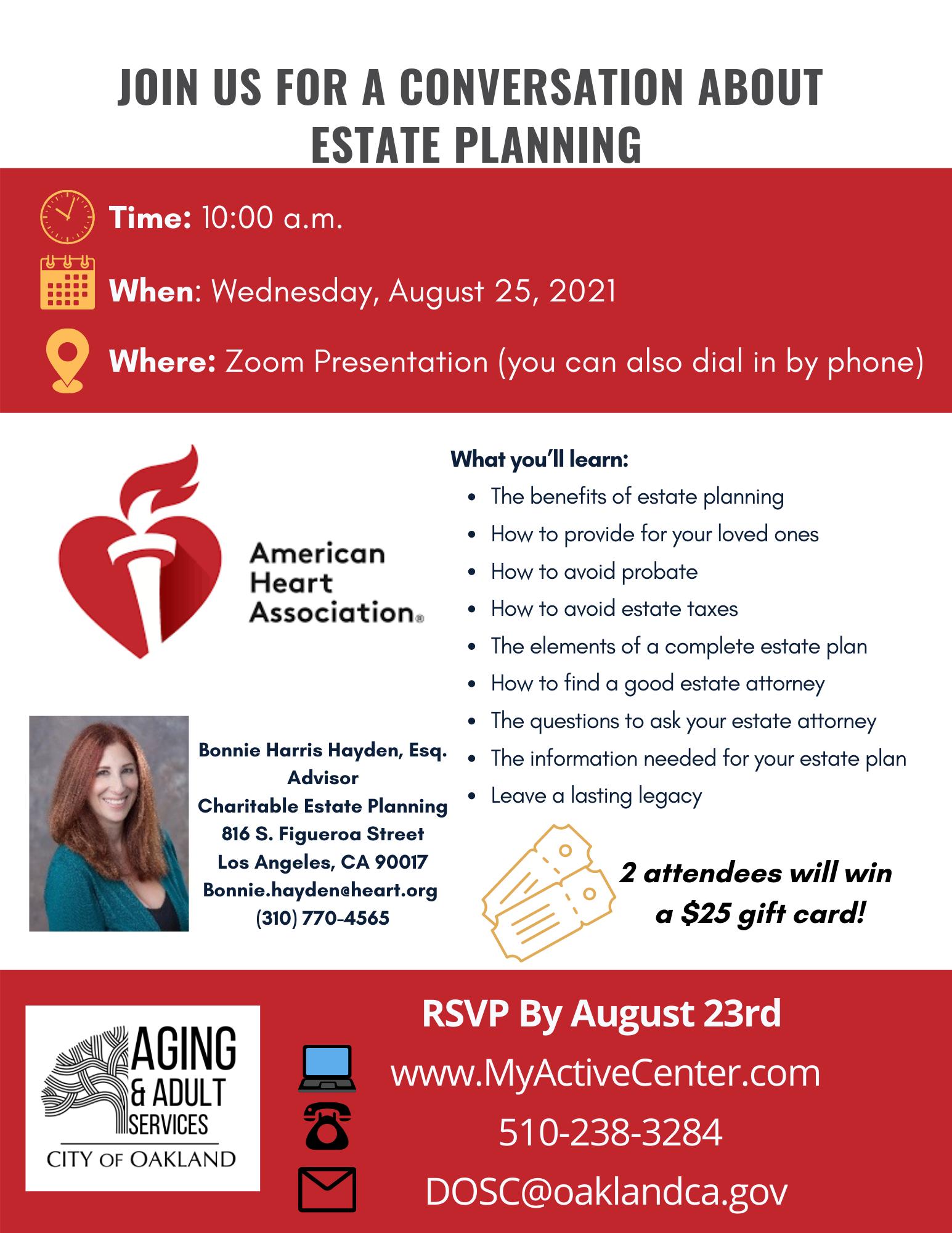 Estate Planning w Bonnie Hayden Aug 25 2021