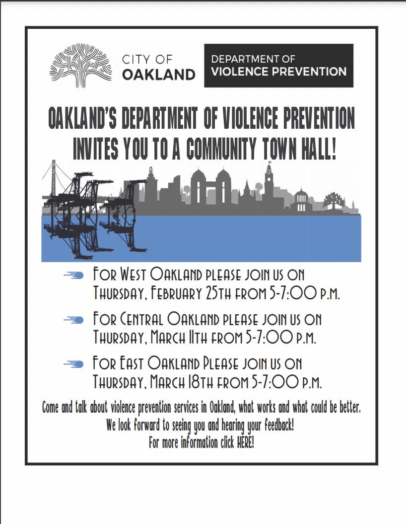 Oakland DVP Town Hall Flyer