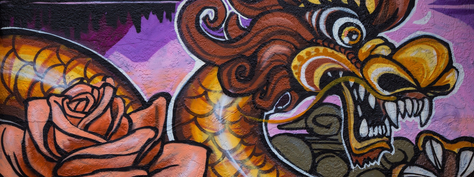 141113 0682 Oakland Chinatown Dragon Mural X3