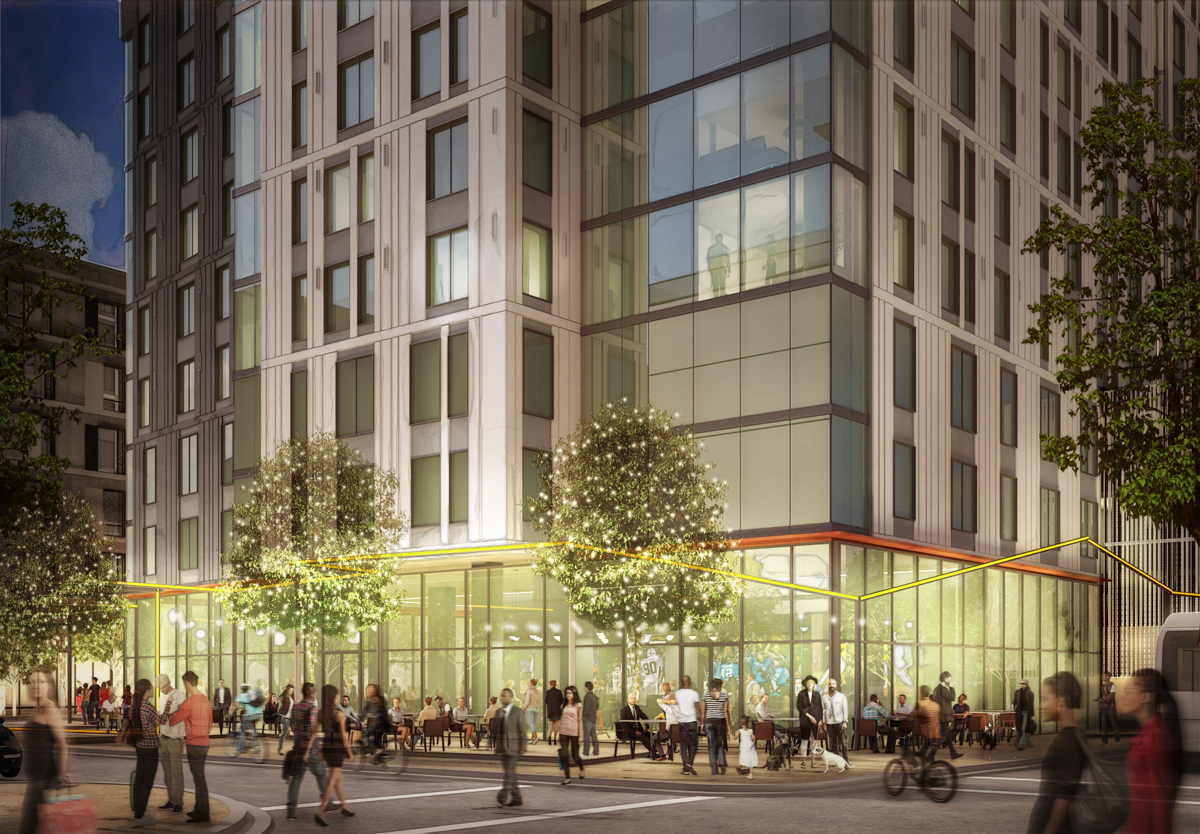 MacArthur Transit Village project rendering. View of the 39th Street retail from the BART station. Courtesy Boston Properties.