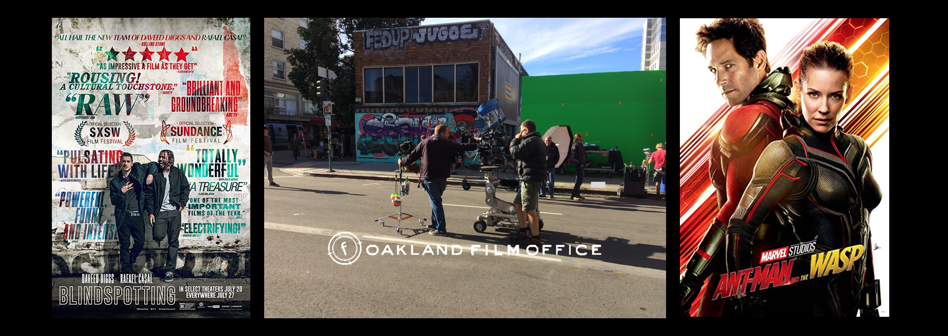 Blindspotting Oakland City street film shoot and Antman 2 posters Oakland Film Office website page header collage